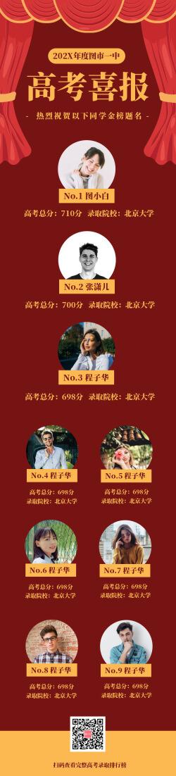 红色喜庆学校高考喜报排行榜长图