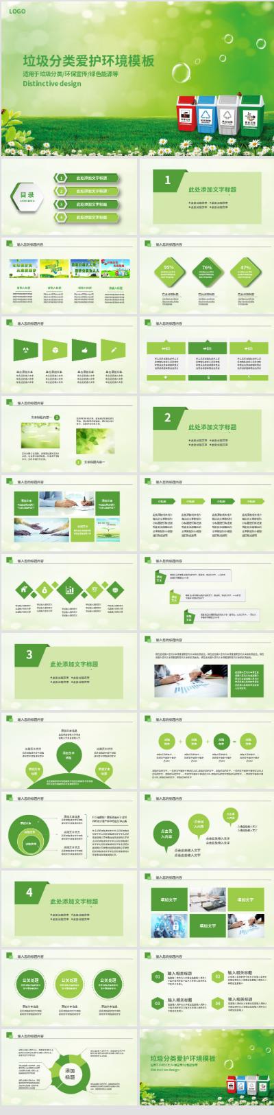 $綠色環保垃圾分類PPT模板