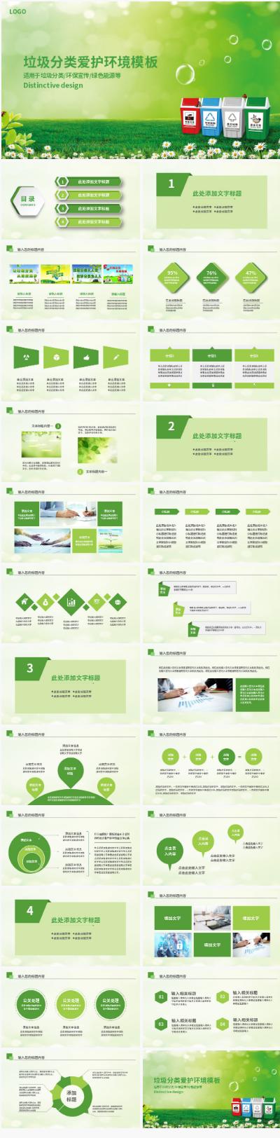 绿色环保垃圾分类PPT模板