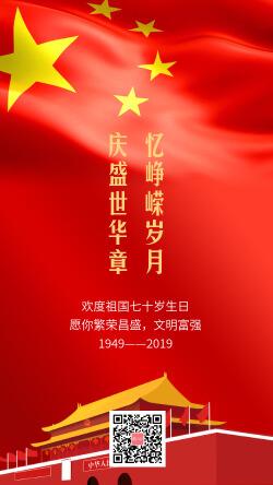 红色时尚国庆节节日祝福手机海报