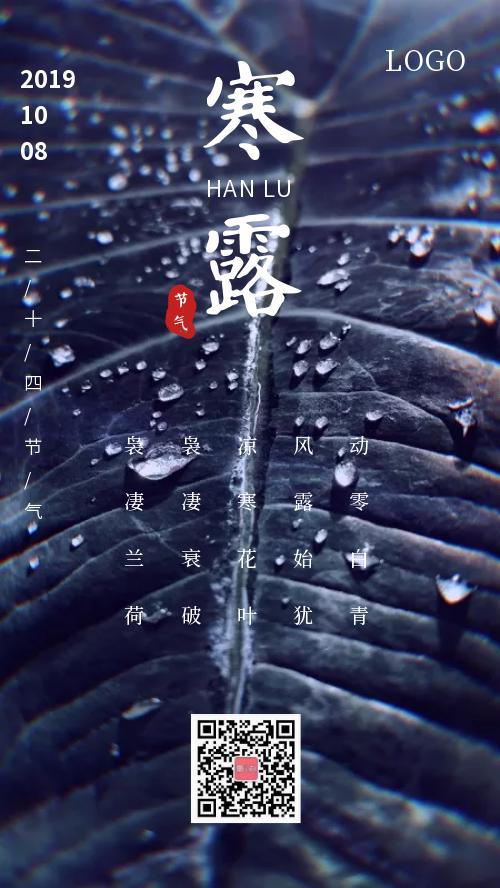 简约寒露节气宣传手机海报