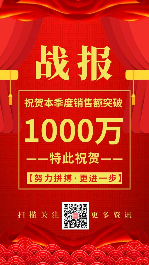 红色喜庆战报宣传海报
