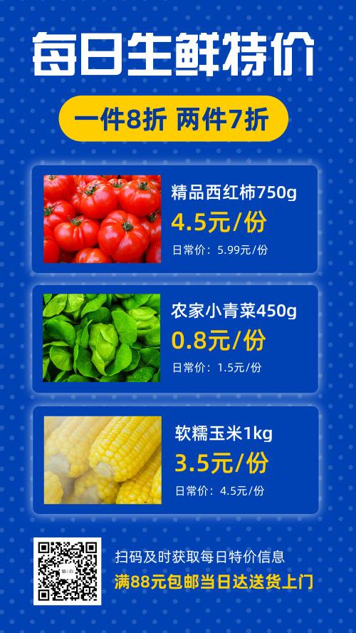 每日生鲜特价蔬果餐饮美食促销