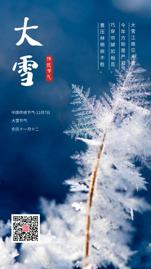 大雪传统节气手机海报