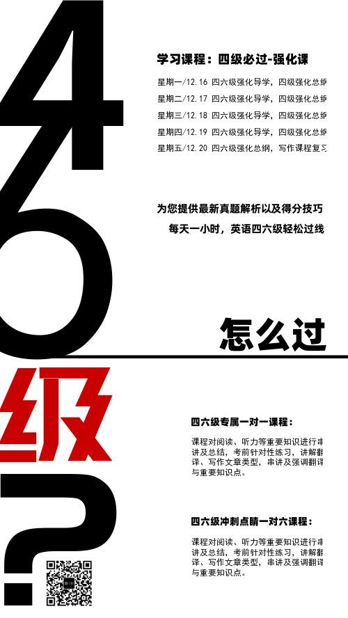 四六级辅导招生简约海报模板