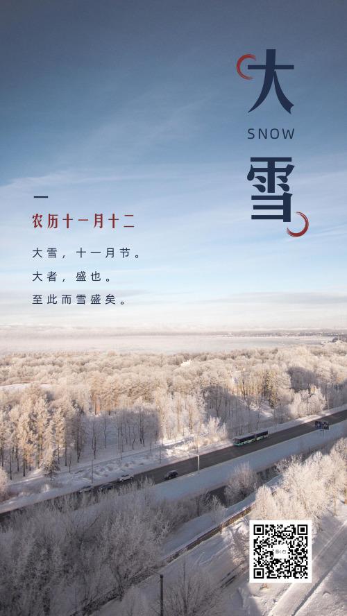 简约小清新大雪节气海报