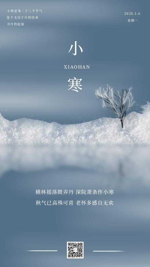 雾霾蓝小寒节气宣传海报