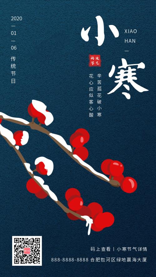 简约小寒传统节气宣传手机海报