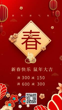 中国传统阴历新年春节祝福促销海报