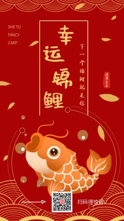 中国风红色幸运锦鲤转发中奖宣传海报