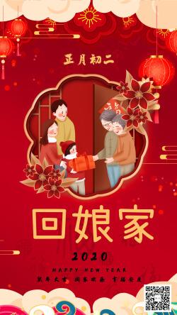 中国传统节日习俗正月初二回娘家宣传海报