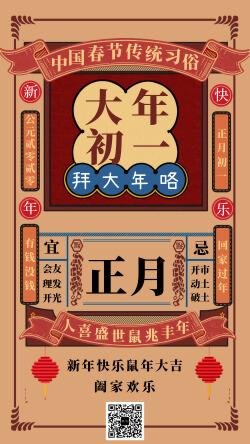 中国春节传统习俗大年初一宣传海报