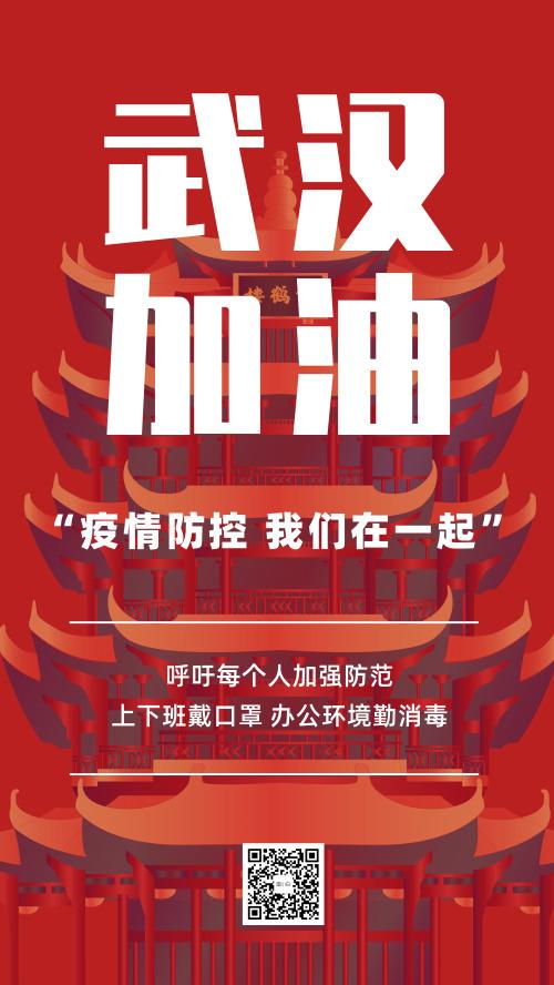 武汉加油疫情防控新冠病毒手机海报