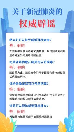 武汉新冠病毒肺炎辟谣科普宣传海报