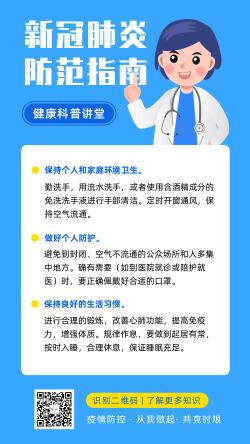 疫情防控科普武汉新冠状肺炎预防指南海报