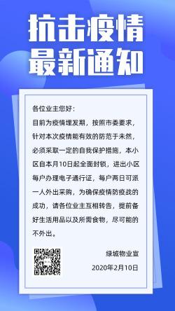 新冠肺炎抗击疫情小区物业武汉加油通知海报