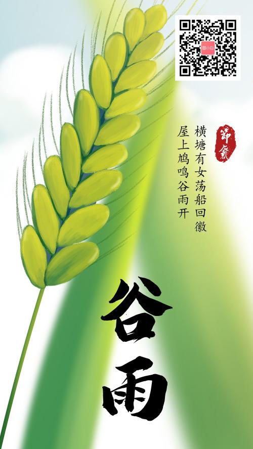 小麦生长季谷雨手机海报