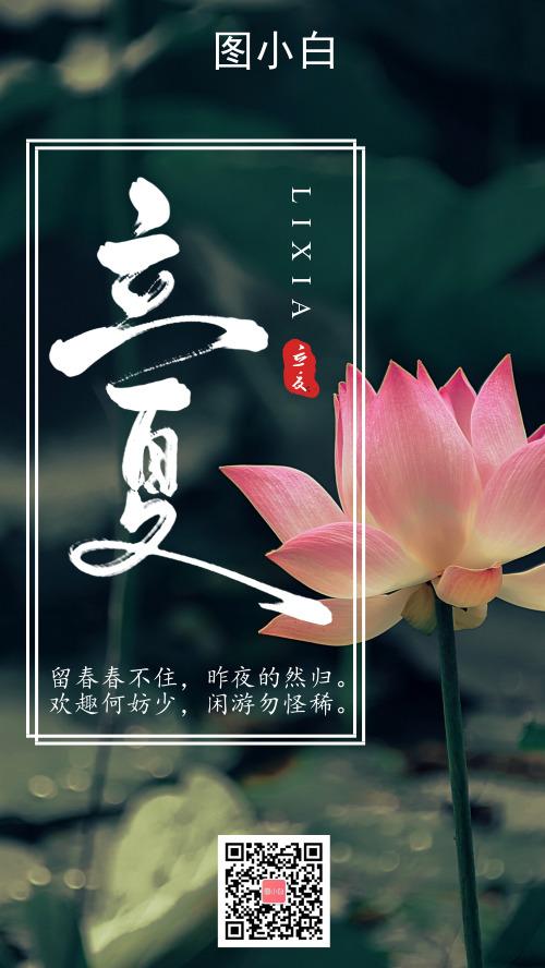 创意中国风图文立夏节气宣传手机海报