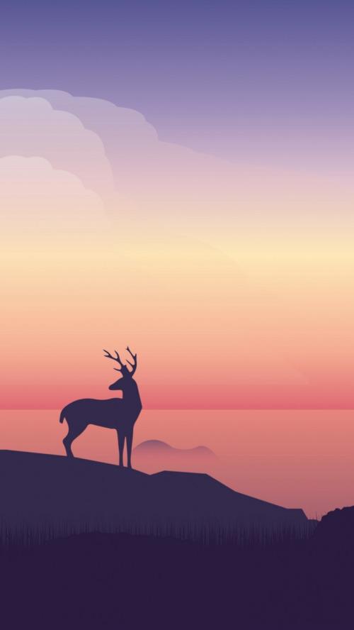 温馨简洁极光麋鹿插画壁纸