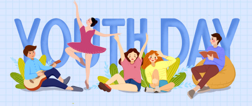 创意卡通图文54青年节公众号封面