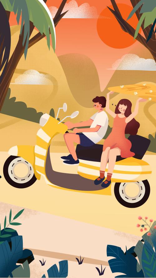 骑车出游卡通插画手机壁纸
