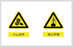 小心夹手当心坠物警示不干胶