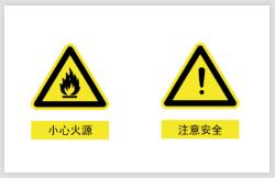 小心火源注意安全警示不干胶