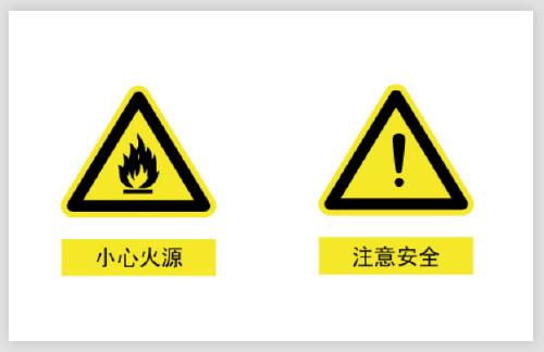 小心火源注意安全警示不干膠