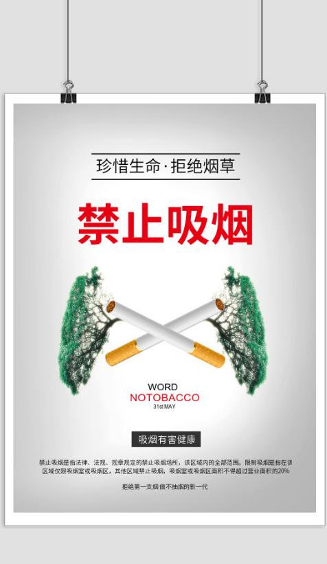 真爱生命拒绝烟草禁烟印刷海报
