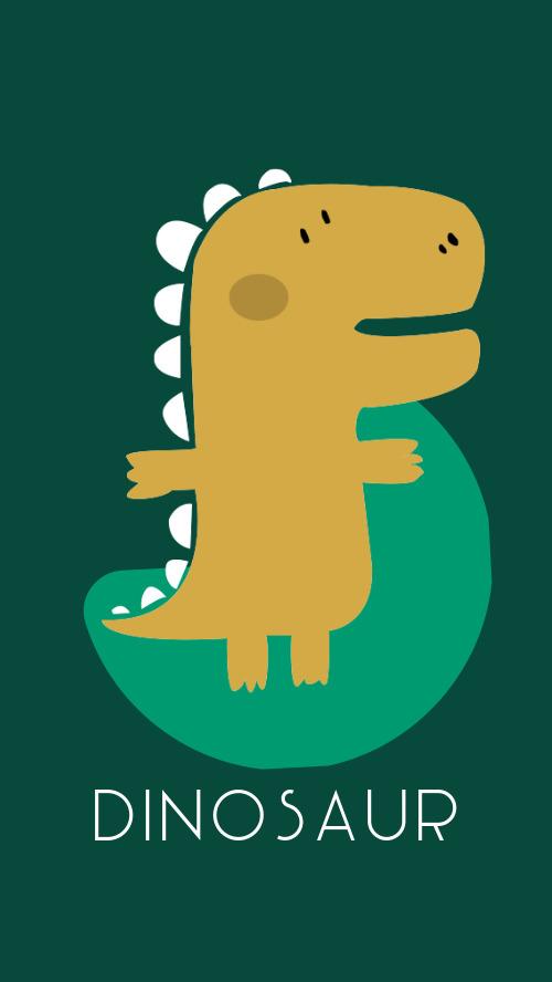 綠色卡通可愛恐龍手機壁紙