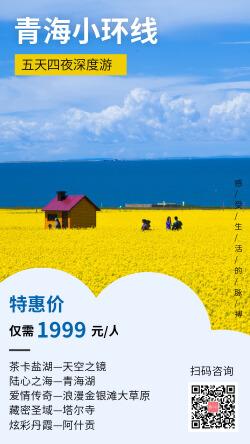 青海小环线旅游促销感受自然手机海报