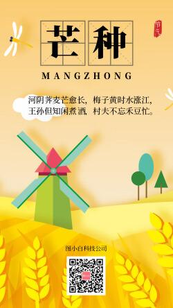 橙黄色插画自然芒种手机宣传海报