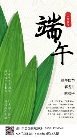 绿色小清新端午节气宣传手机海报
