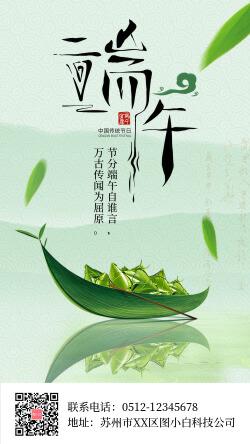 清新自然端午节品牌借势宣传海报