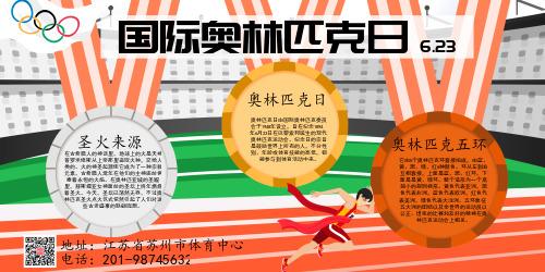 简约国际奥林匹克日知识宣传展板