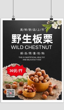 黑色绿色健康板栗零食印刷海报