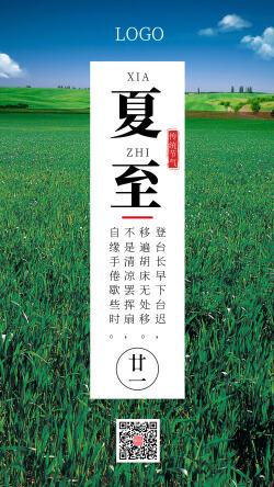 传统节气之夏至时节手机宣传海报