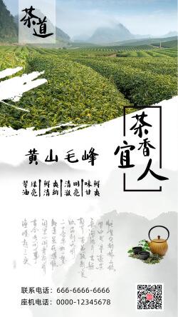 中国风茶叶品牌宣传手机海报