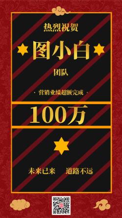 中國風慶祝業績超額完成微商海報