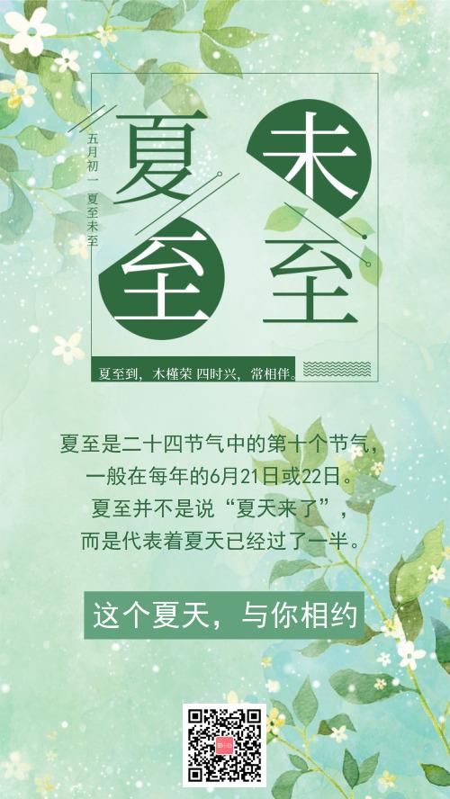 小清新夏至手机海报