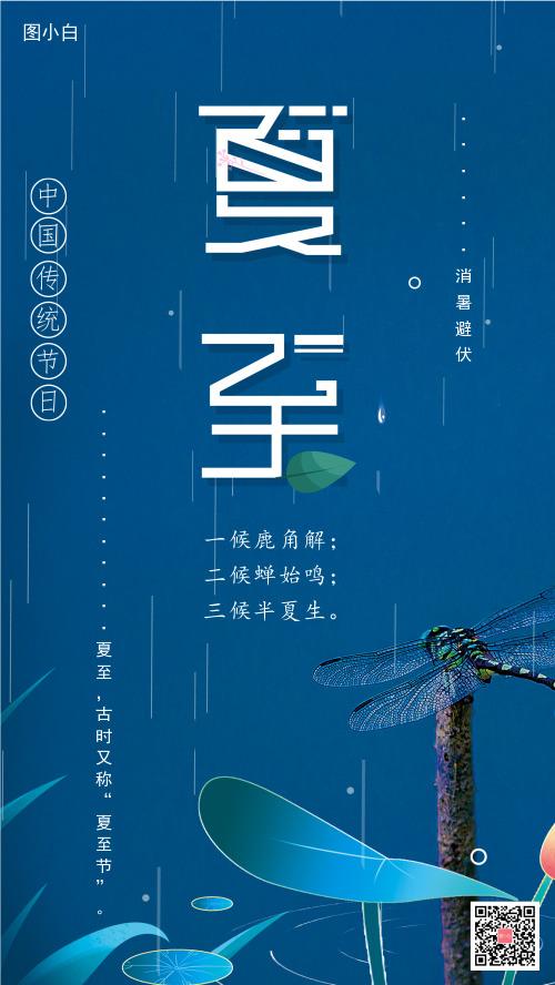 夏至蟬鳴藍底蜻蜓手機海報
