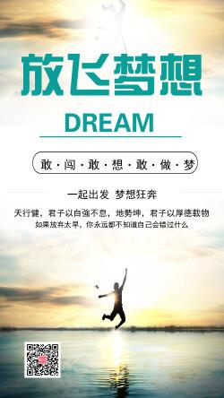 放飛夢想勵志宣傳手機海報