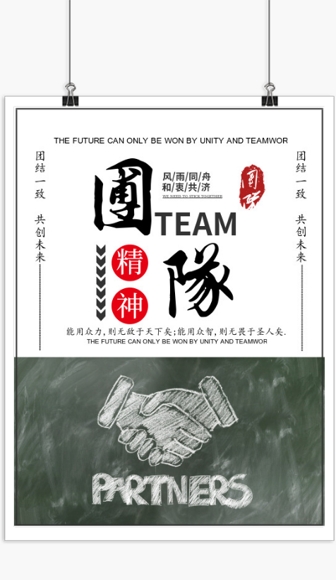 团队精神企业文化宣传海报