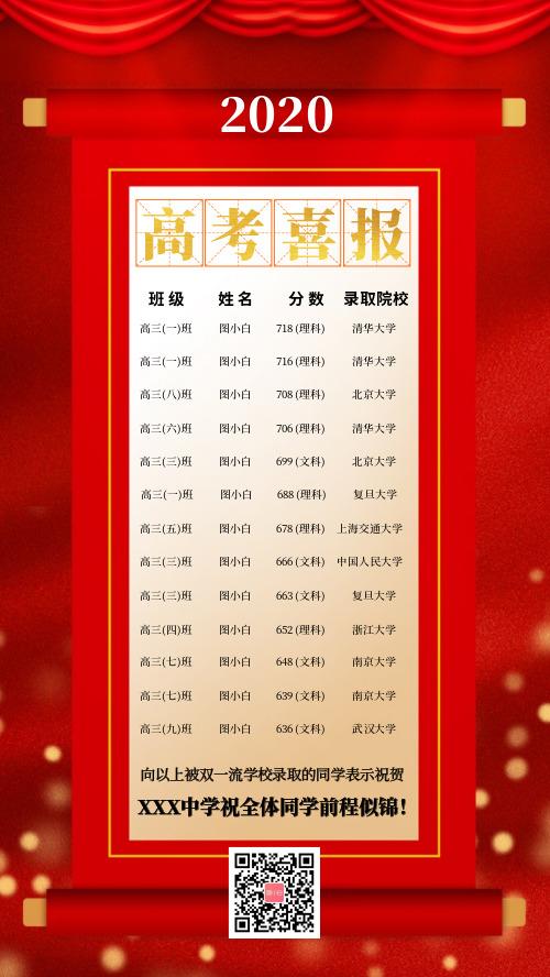 红色喜庆高考喜报花名册手机海报