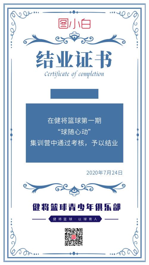 简约篮球俱乐部结业证书海报