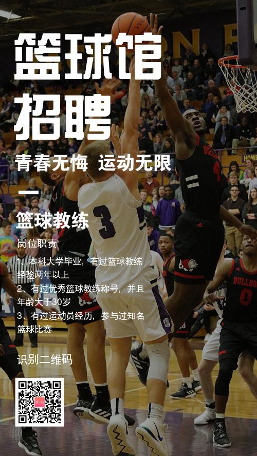 简约图文篮球馆招聘手机海报