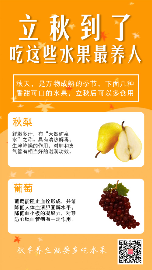 简约立秋百科水果营销手机海报
