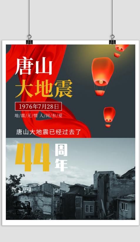简约唐山大地震纪念日海报