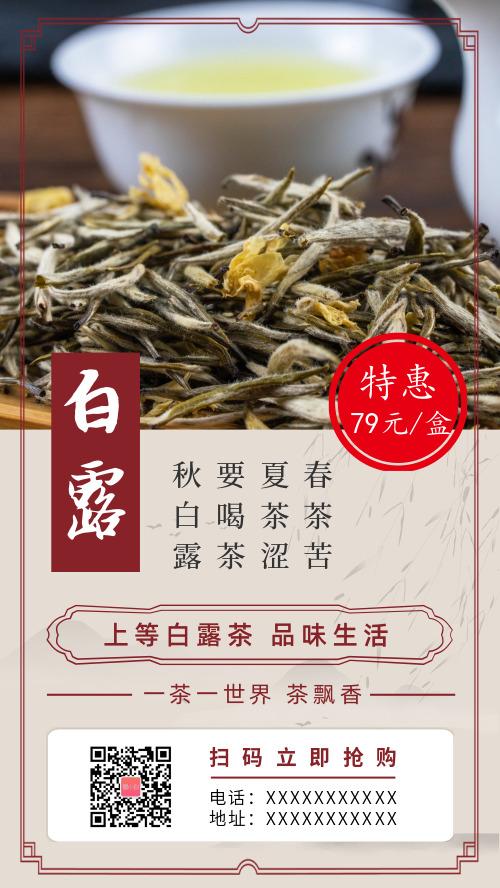 中国风白露节气茶叶促销海报