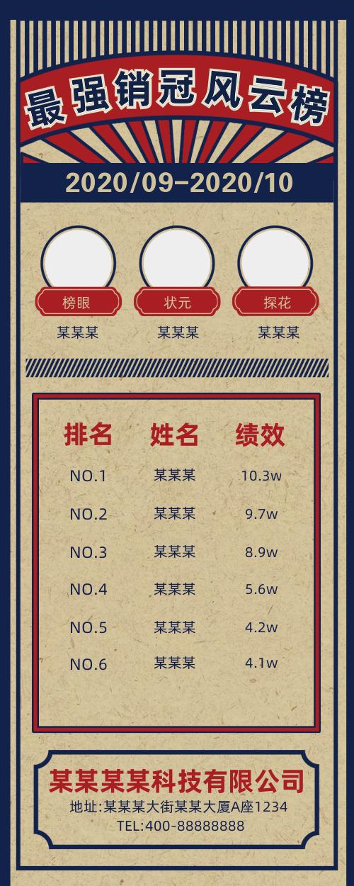 复古简约最强销冠风云榜营销长图